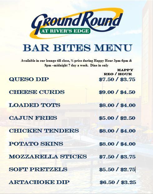 1/2 off Bar Bites menu